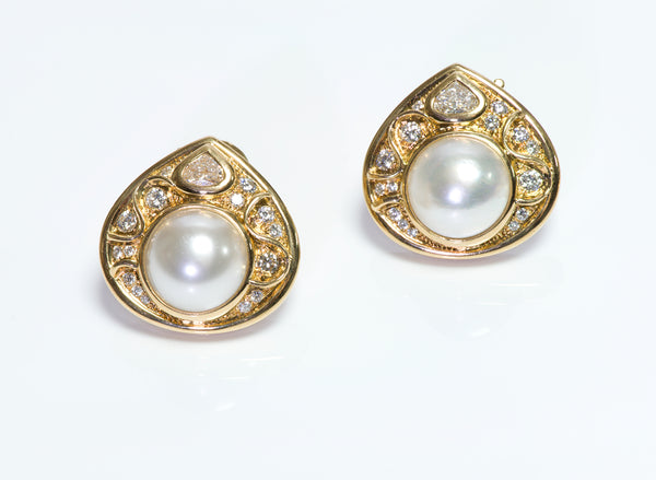 Marina B Gold Pearl & Diamond Earrings
