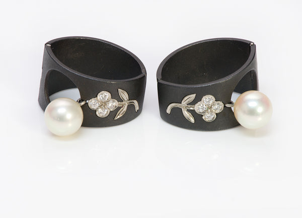 Marsh Co. Diamond Pearl Gold Earrings