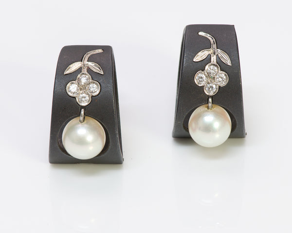 Marsh & Co. Steel Diamond Pearl Gold Earrings
