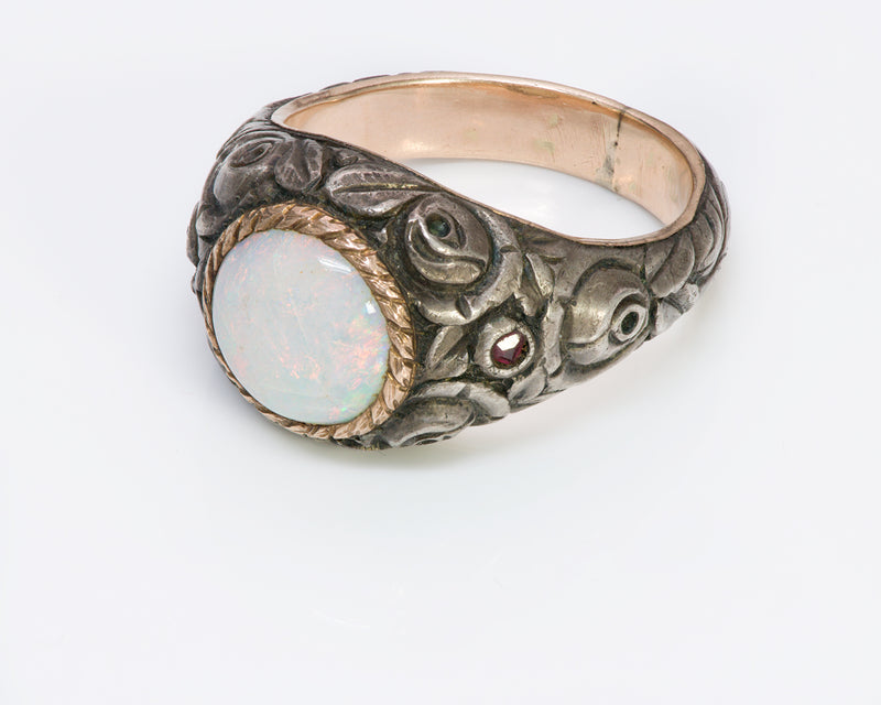 Antique Opal Carved Silver Gold Men's Ring