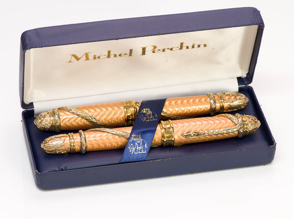Michel Perchin Enamel Serpent Fountain Pen & Ball Pen