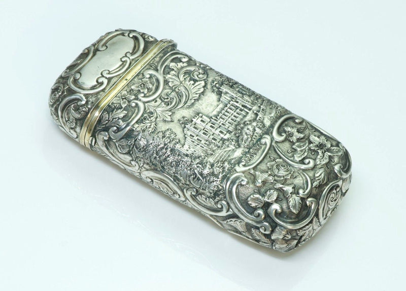 Antique Nathaniel Mills Silver Cigar Case-Box