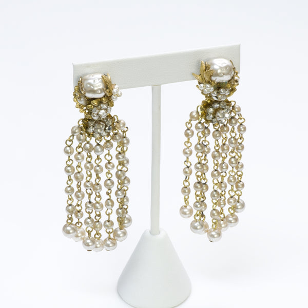 Miriam Haskell Chandelier Pearl Earrings