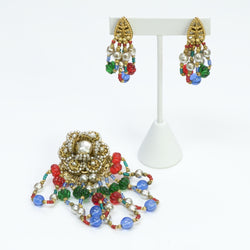 Miriam Haskell Earrings & Brooch