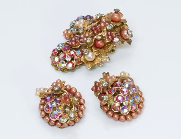 Miriam Haskell Bracelet Earrings Brooch Set