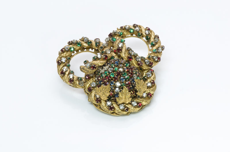 Miriam Haskell Filigree Crystal Brooch
