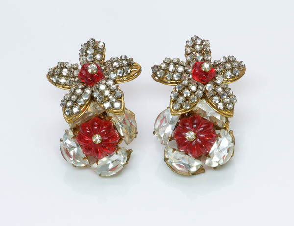 Miriam Haskell Gripoix Flower Earrings