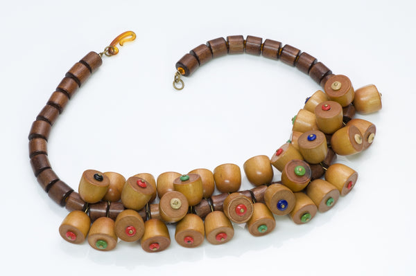 Miriam Haskell Wood Necklace 1930