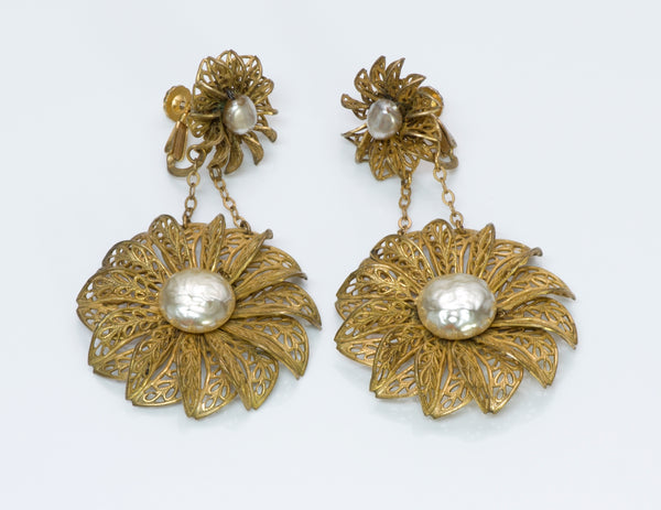 Miriam Haskell Filigree Pearl Earrings