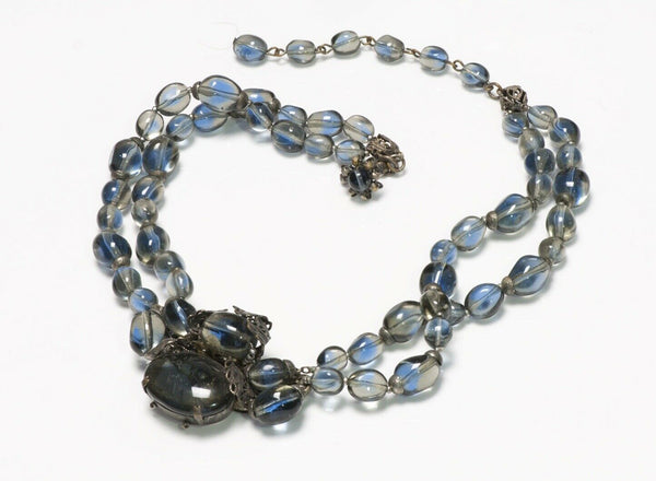 Miriam Haskell 1950's Blue Glass Beads Collar Necklace