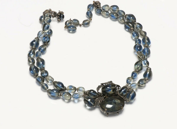 Miriam Haskell 1950's Blue Glass Beads Leaf Pattern Collar Necklace