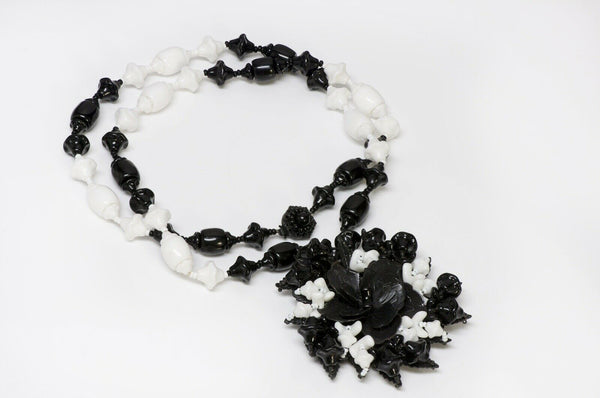 Miriam Haskell 1950's Glass Beads Flower Leaf Necklace