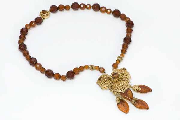 Miriam Haskell 1950's Glass Leaf Flower Necklace