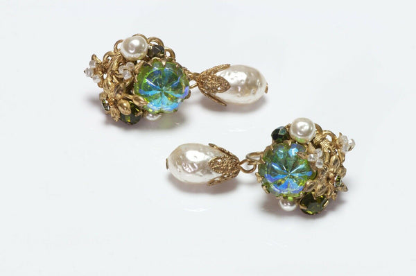 Miriam Haskell 1950's Green Crystal Pearl Earrings