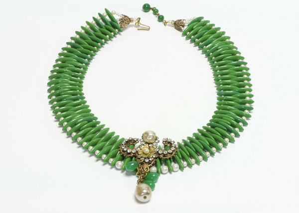 Miriam Haskell 1950's Green Glass Beads Pearl Crystal Collar Necklace