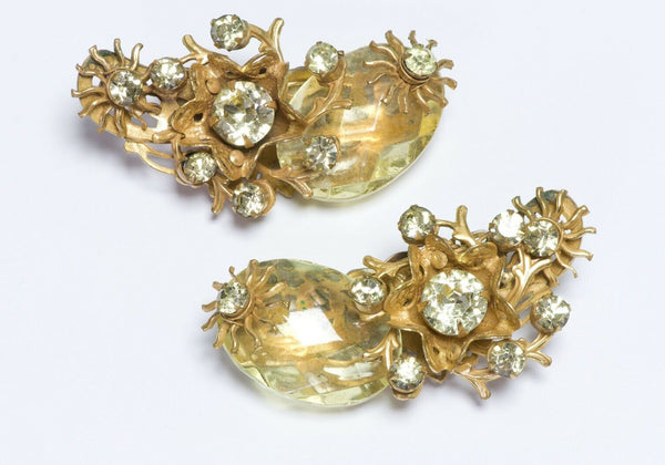 Miriam Haskell 1950's Large Yellow Crystal Flower Ear Cuff Earrings