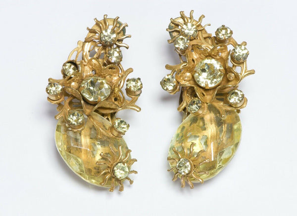 Miriam Haskell Crystal Flower Ear Cuff Earrings