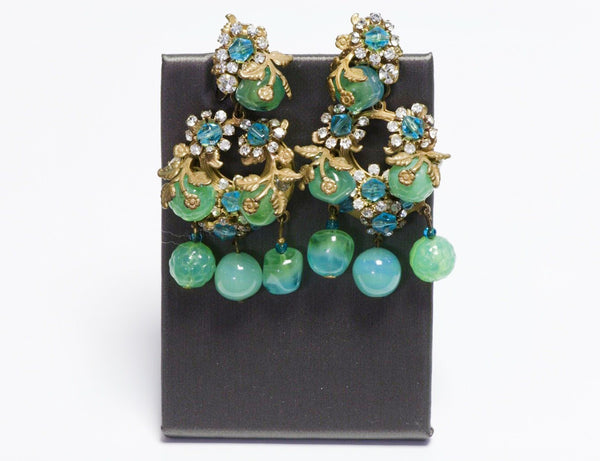 Miriam Haskell 1950's Long Green Blue Glass Beads Flower Leaf Crystal Earrings