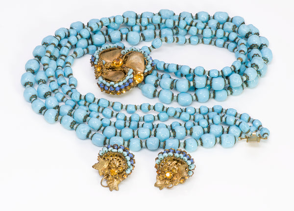 Miriam Haskell 1950 Frank Hess Blue Beads Necklace Earrings