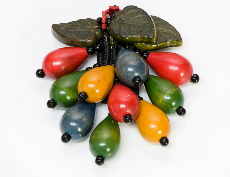 Miriam Haskell 1930's Multi Color Wood Leaf Brooch