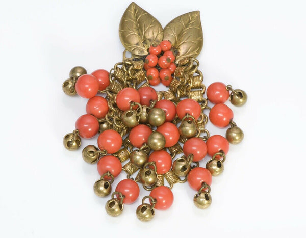 Miriam Haskell 1940's Orange Glass Beads Brass Leaf Chain Brooch