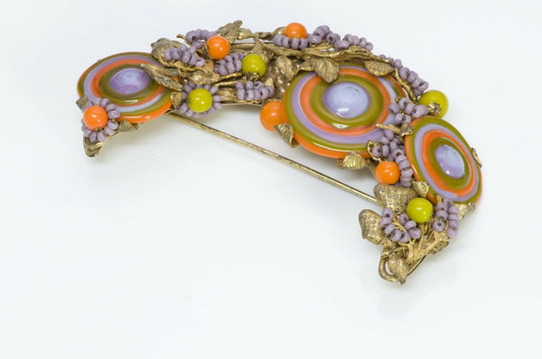 Miriam Haskell Swirl Beaded Half Moon Brooch