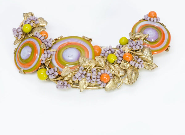 Miriam Haskell 1940's Swirl Beaded Half Moon Brooch