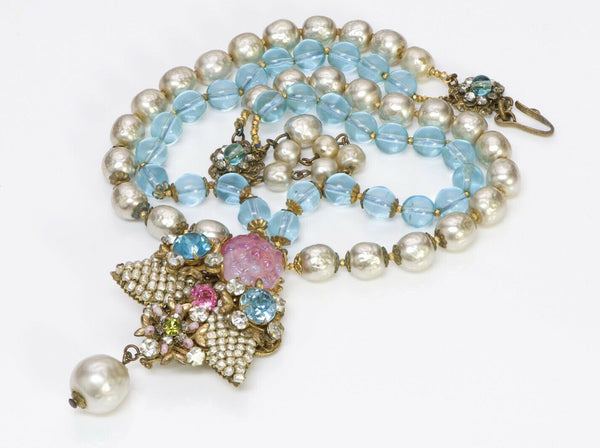Miriam Haskell Blue Pink Glass Beads Pearls Collar Necklace