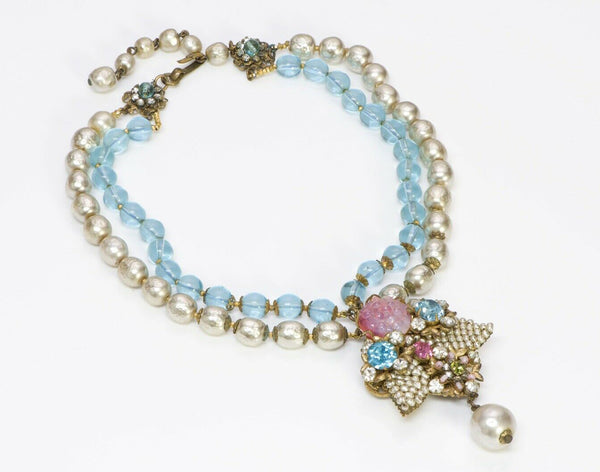 Miriam Haskell Glass Beads Pearls Collar Necklace
