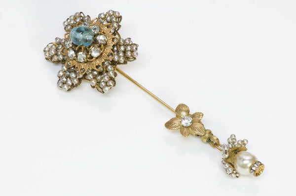 Miriam Haskell 1950's Flower Pearl Glass Bead Stickpin Brooch