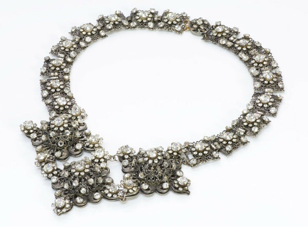 Miriam Haskell 1950's Victorian Crystal Filigree Necklace