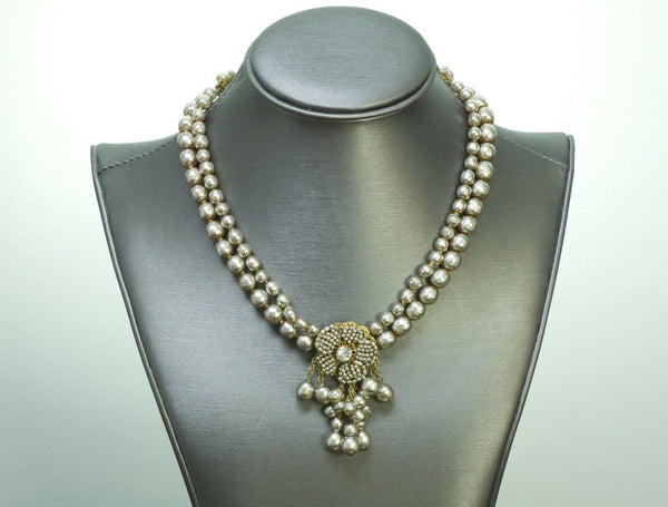Miriam Haskell Beaded Pearl Crystal Necklace