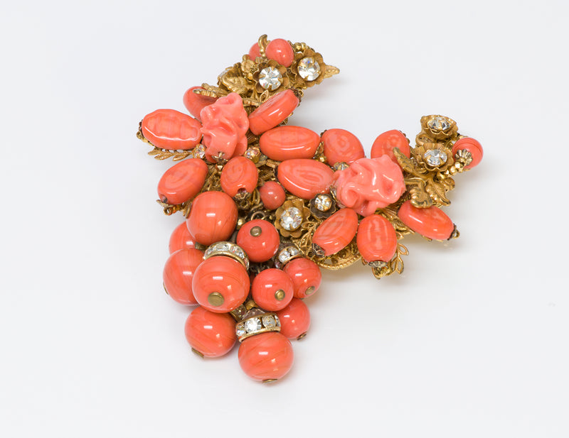 Miriam Haskell Faux Coral Glass Brooch