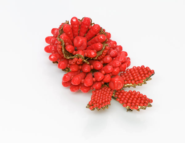 Vintage Miriam Haskell 1950's Faux Coral Flower Brooch 7