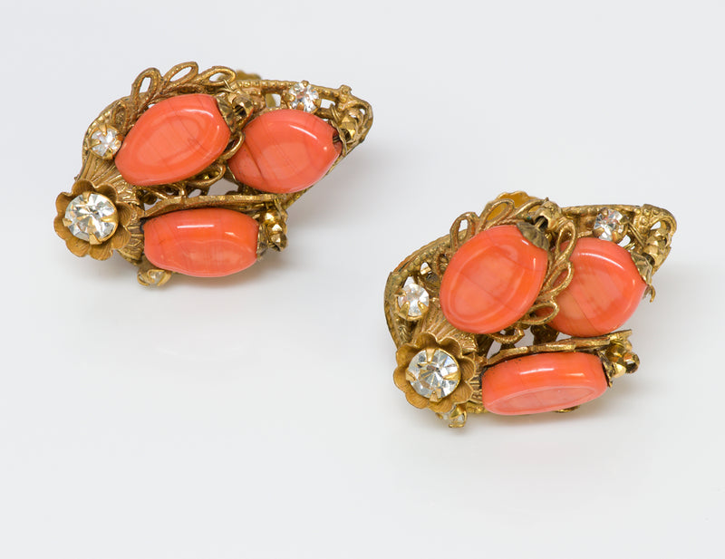 Miriam Haskell Faux Coral Glass Earrings