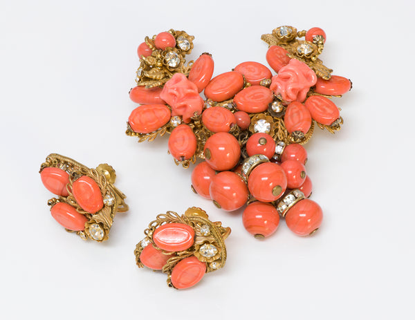 Vintage Miriam Haskell Faux Coral Glass Brooch Earrings