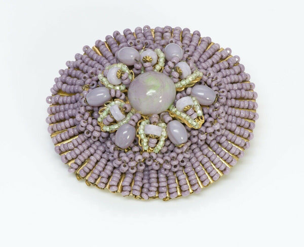 Miriam Haskell Gripoix 1950's Purple Glass Flower Brooch