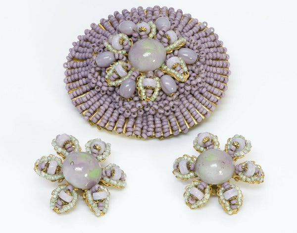 Miriam Haskell Gripoix 1950's Purple Glass Flower Brooch Earrings