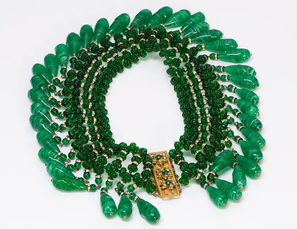 Miriam Haskell 1950's Gripoix Green Beads Necklace