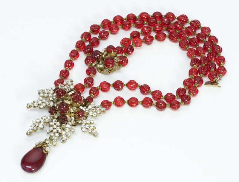 Vintage Miriam Haskell Maison Gripoix Red Glass Necklace