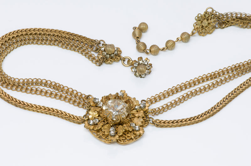 Miriam Haskell 1950's Crystal Flower Choker Necklace