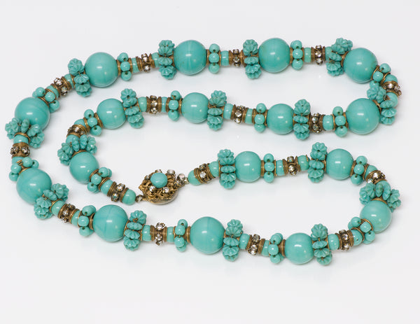 Vintage Miriam Haskell 1950's Turquoise Carved Glass Necklace