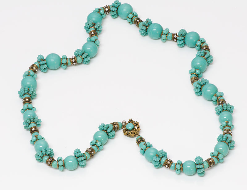 Vintage Miriam Haskell Turquoise Carved Glass Necklace