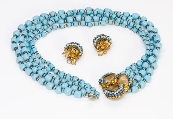 Miriam Haskell 1950's Frank Hess Blue Beads Necklace Earrings