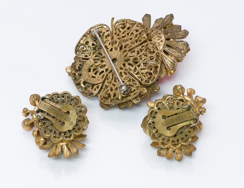 Miriam Haskell 1940's Frank Hess Brooch Earrings Set