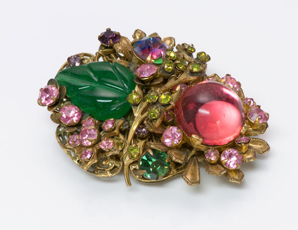 Miriam Haskell 1940's Frank Hess Glass Brooch