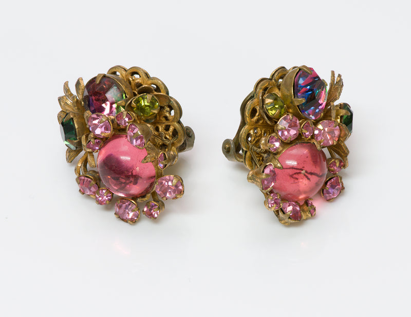 Miriam Haskell 1940's Frank Hess Glass Earrings