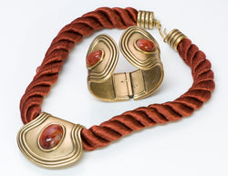 Monet Gold Tone Burgundy Etruscan Revival Rope Necklace Cuff Bracelet