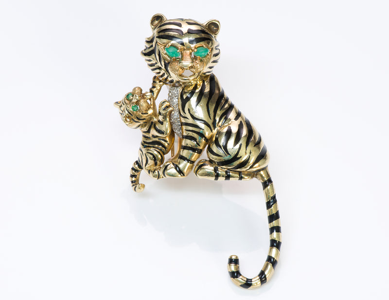 Montclair Diamond 18K Gold Enamel Tiger Brooch