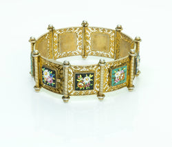 Antique Silver Gilt Filigree Micro Mosaic Flower Bracelet